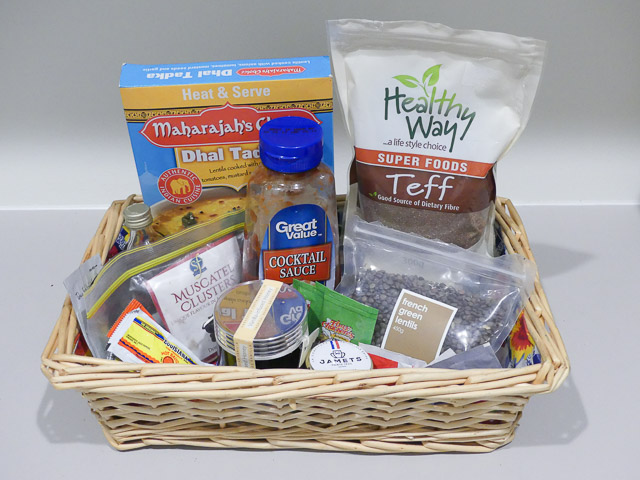 rectangular basket with miscellaneous pantry items
