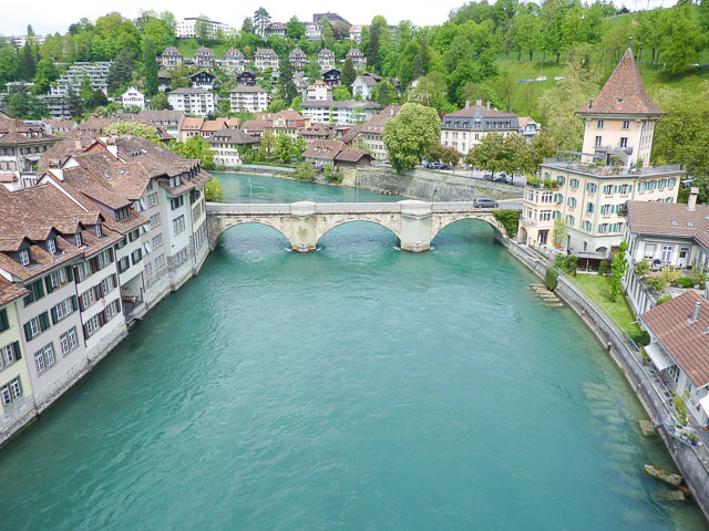 view of the Aare River and medieval buildings in Bern Switzerland