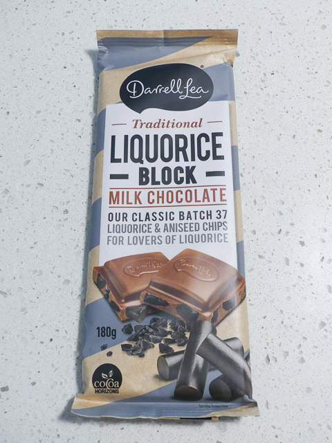 block of darrell lea liquorice chocolate
