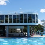 cantilevered restaurant hovers above the centenary swimming pool