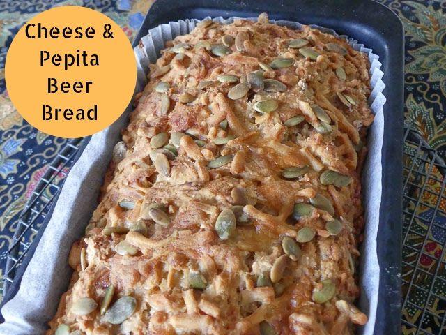 Cheese & pepita beer bread in baking tin