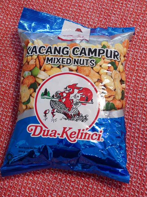 blue foil bag of Indonesian kacang campur mixed nuts